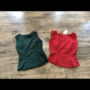 Time Travelers Tops - Corset top bundle, red and green, Size small NWT